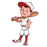 Giocatore di baseball con un pipistrello sulla sua spalla Fotografie Stock Libere da Diritti
