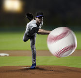 Giocatore di baseball del lanciatore Fotografia Stock Libera da Diritti