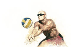 Giocatore di beach volley nell'azione 1 Immagine Stock