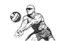 Giocatore di beach volley nell'azione Fotografia Stock