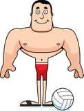 Giocatore di beach volley sorridente del fumetto Fotografie Stock Libere da Diritti