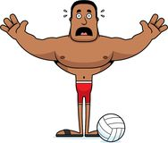 Giocatore di beach volley spaventato fumetto Fotografie Stock Libere da Diritti