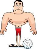 Giocatore di beach volley triste del fumetto Fotografia Stock Libera da Diritti