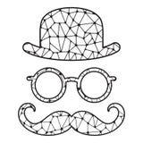 Giocatore di bocce, vetri e baffi stilizzati in bianco e nero Fotografia Stock