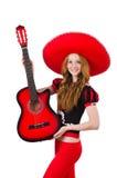 Giocatore di chitarra della donna Fotografia Stock
