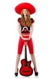 Giocatore di chitarra della donna Fotografie Stock