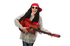 Giocatore di chitarra della donna Fotografia Stock Libera da Diritti
