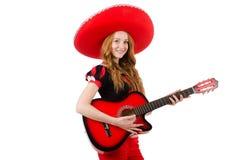 Giocatore di chitarra della donna con il sombrero Immagini Stock