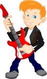 Giocatore di chitarra sveglio del ragazzo Fotografia Stock