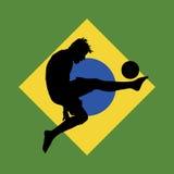 Giocatore di football americano, bandierina brasiliana nella priorità bassa Fotografie Stock Libere da Diritti
