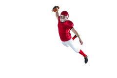 Giocatore di football americano che segna un atterraggio Fotografia Stock Libera da Diritti
