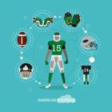 Giocatore di football americano con attrezzatura Fotografie Stock Libere da Diritti