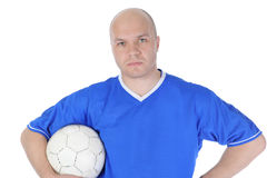 Giocatore di football americano con la sfera in sue mani. Immagini Stock Libere da Diritti