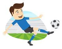 Giocatore di football americano divertente di calcio che indossa il kickin corrente della maglietta blu Immagine Stock