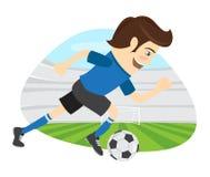 Giocatore di football americano divertente di calcio che indossa il kickin corrente della maglietta blu Immagini Stock Libere da Diritti