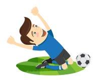 Giocatore di football americano divertente di calcio che porta maglietta blu che gode della v Fotografia Stock Libera da Diritti