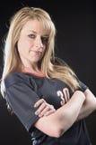 Giocatore di football americano femminile fotografia stock libera da diritti