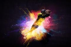 Giocatore di football americano nell'azione Media misti fotografia stock