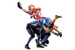 Giocatore di football americano nell'azione sullo stadio Immagini Stock Libere da Diritti