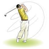 Giocatore di golf che oscilla il randello Fotografie Stock Libere da Diritti
