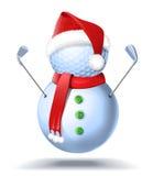 Giocatore di golf del pupazzo di neve con i ferri Immagine Stock