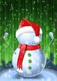 Giocatore di golf del pupazzo di neve con i ferri Fotografie Stock