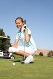Giocatore di golf della donna Fotografia Stock Libera da Diritti