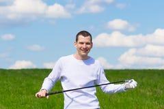 Giocatore di golf di gioia fotografia stock libera da diritti