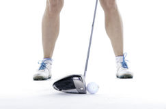 Giocatore di golf di signora in studio Fotografie Stock