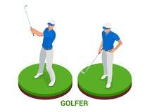 Giocatore di golf isometrico Elementi di progettazione di sport Fotografia Stock