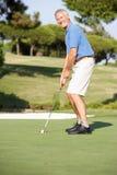 Giocatore di golf maschio maggiore sul terreno da golf Immagine Stock