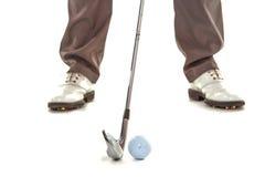 Giocatore di golf in studio bianco Fotografia Stock Libera da Diritti