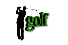 Giocatore di golf - testo di golf Fotografia Stock