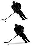 Giocatore di hockey della siluetta Immagini Stock