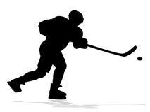 Giocatore di hockey della siluetta Fotografia Stock