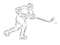 Giocatore di hockey della siluetta Fotografia Stock Libera da Diritti