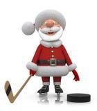 Giocatore di hockey di Santa Claus Immagine Stock Libera da Diritti