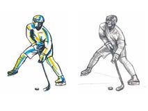 Giocatore di hockey di Slhouette Fotografia Stock Libera da Diritti