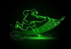 Giocatore di hockey, fondo al neon di sport Fotografie Stock