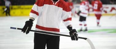 Giocatore di hockey su ghiaccio sul ghiaccio Sport di squadra fotografia stock libera da diritti