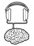 Giocatore di musica del cervello con le cuffie Fotografia Stock Libera da Diritti