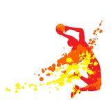 Giocatore di pallacanestro astratto nel salto illustrazione di stock
