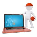 giocatore di pallacanestro 3d con il computer portatile Immagine Stock