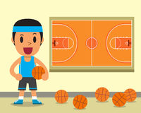 Giocatore di pallacanestro del fumetto e modello maschii della corte Fotografia Stock