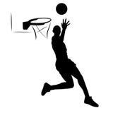 Giocatore di pallacanestro della siluetta Fotografia Stock Libera da Diritti