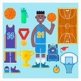 Giocatore di pallacanestro ed insieme dell'icona di pallacanestro Elementi semplici di vettore di pallacanestro Illustrazione di  Immagine Stock Libera da Diritti