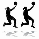 Giocatore di pallacanestro femminile della siluetta, disegno di vettore Fotografie Stock Libere da Diritti