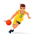 Giocatore di pallacanestro fresco con la palla Immagini Stock