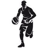 Giocatore di pallacanestro, siluetta Fotografia Stock