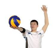 Giocatore di pallavolo con la sfera Fotografie Stock Libere da Diritti